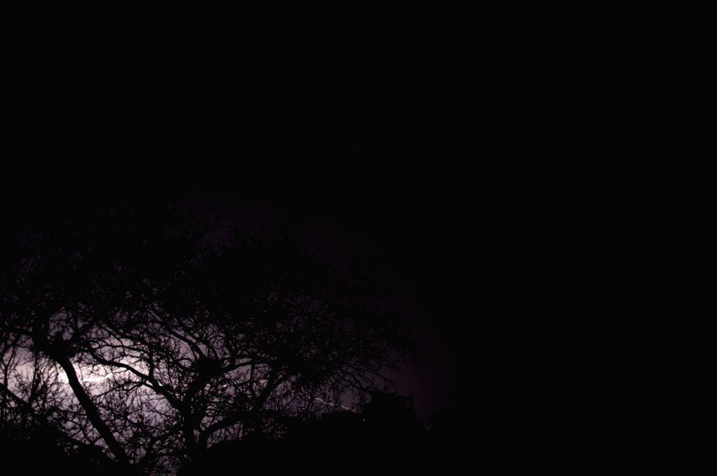 Lightning streaks seen in Delhi skies on a rainy night.