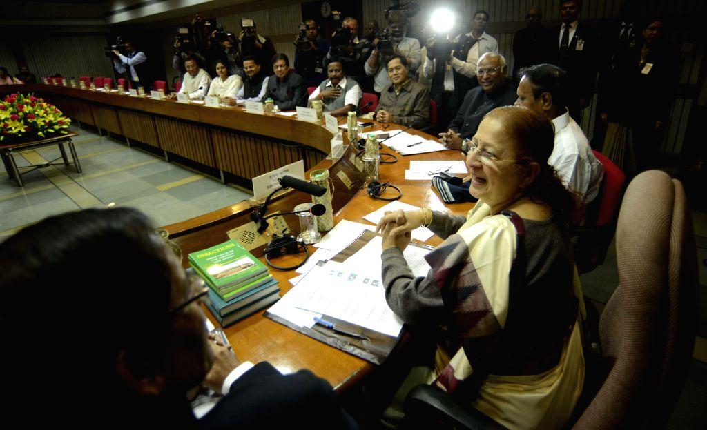 Lok Sabha Speaker Sumitra Mahajan during all party meeting at Parliament House, in New Delhi on Nov 22, 2014. - Sumitra Mahajan