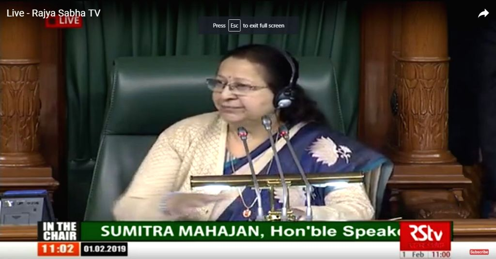 New Delhi: Lok Sabha Speaker Sumitra Mahajan during budget session of Parliament in New Delhi on Feb 1, 2019. Union Finance and Corporate Affairs Minister Piyush Goyal is presenting interim Budget for 2019-20 in the house. (Photo: IANS/RSTV) - Sumitra Mahajan