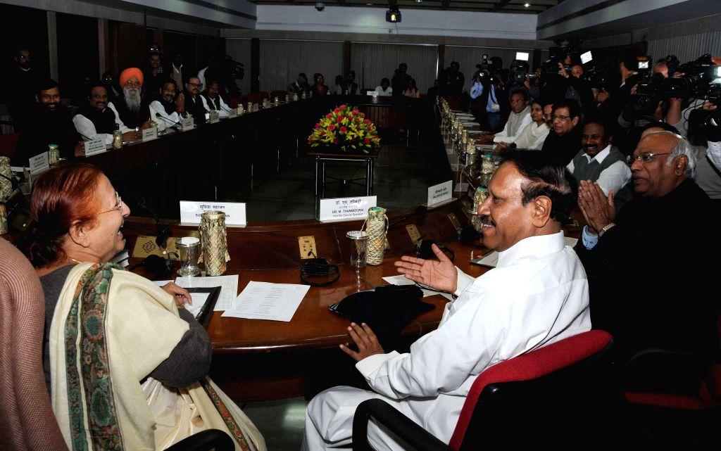 Lok Sabha Speaker Sumitra Mahajan with Thambi Durai (AIDMK), Mallikarjun Kharge (Cong) and other MP`s during all party meeting at Parliament House, in New Delhi on Nov 22, 2014. - Sumitra Mahajan