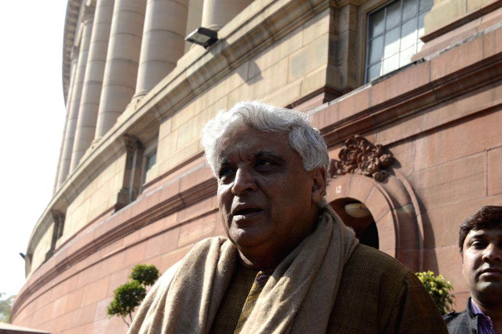 Lyricist and MP Javed Akhtar at the Parliament premises in New Delhi on Dec 4, 2014.