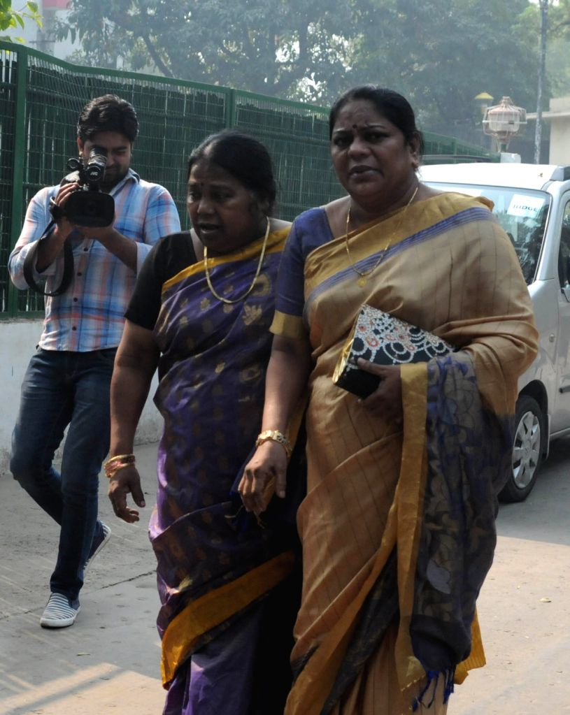 ":New Delhi: Mafia don Rajendra S. Nikhalje alias Chhota Rajan's sisters arrive to meet him on ""Bhai Dooj"" in New Delhi, on Nov 13, 2015. (Photo: IANS)."