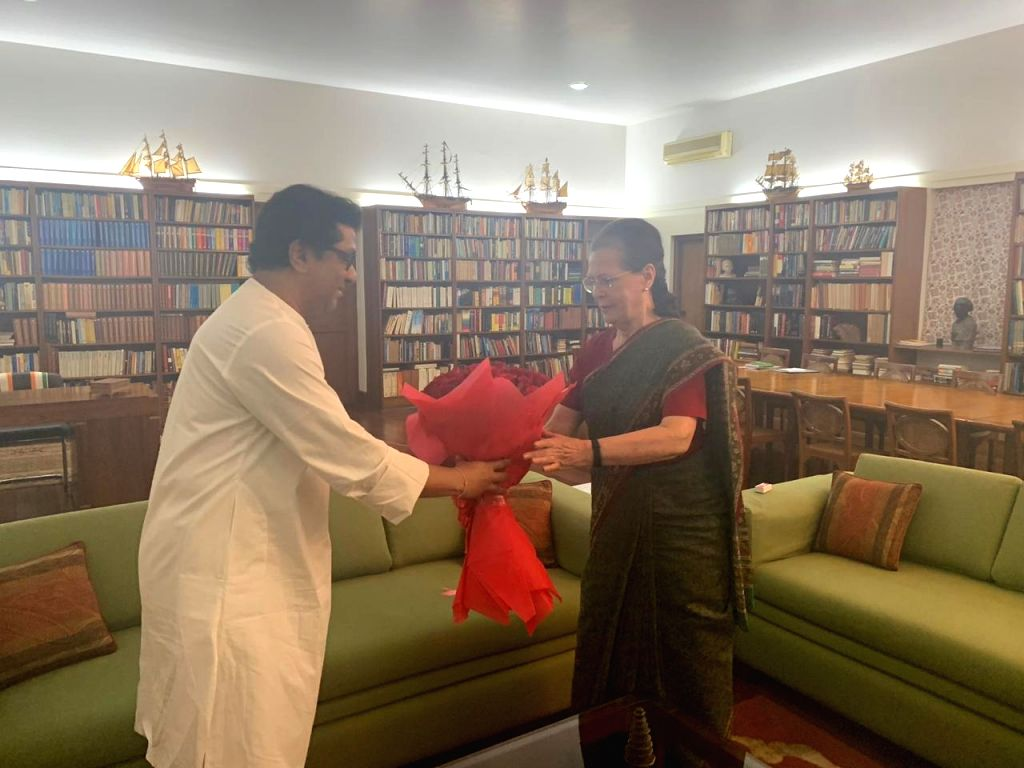 New Delhi: Maharashtra Navnirman Sena (MNS) President Raj Thackeray meets UPA Chairperson Sonia Gandhi at her residence, in New Delhi on July 8, 2019. (Photo: IANS) - Sonia Gandhi