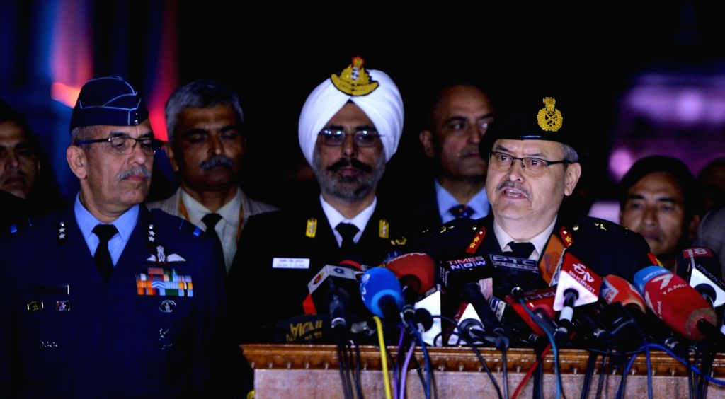 New Delhi: Major General S.S. Mahal during a press conference in New Delhi on Feb 28, 2019. Also seen Rear Admiral D.S. Gujral and Air Vice Marshal RGK Kapoor. (Photo: IANS)