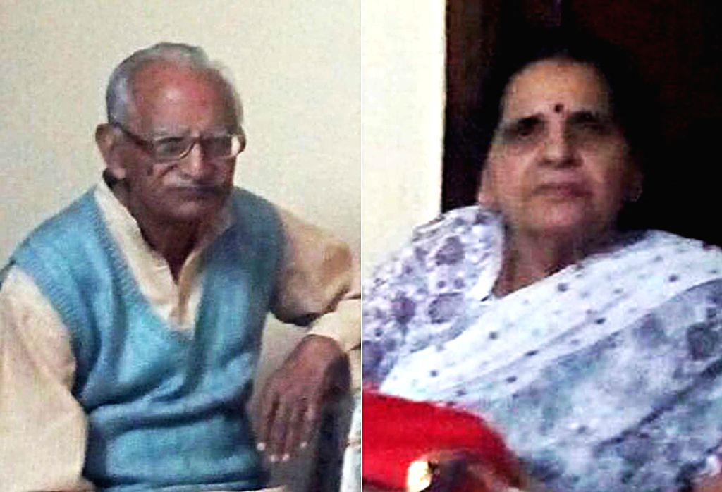 : New Delhi: Manohar Lal Madan (86), a retired Punjab National Bank employee, and his wife Vimla Madan (80) who were found dead at their East of Kailash residence in New Delhi on Nov. 13, 2015. ...