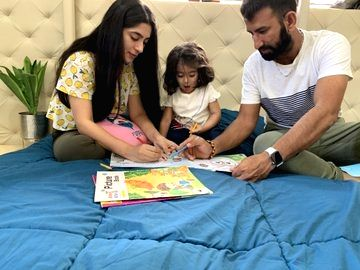 New Delhi, March 29 (IANS) The Board of Control for Cricket in India (BCCI) on Sunday posted images of batsman Cheteshwar Pujara with his family at his home. - Cheteshwar Pujara