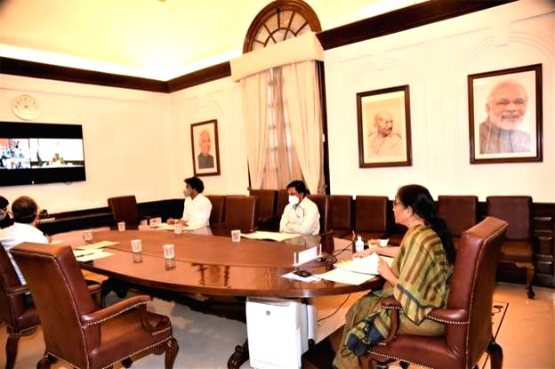New Delhi, May 28 (IANS) Finance Minister Nirmala Sitharaman on Thursday chaired a meeting of the Financial Stability and Development Council (FSDC) through video conference to review the measures to maintain financial stability amid the coronavirus  - Nirmala Sitharaman