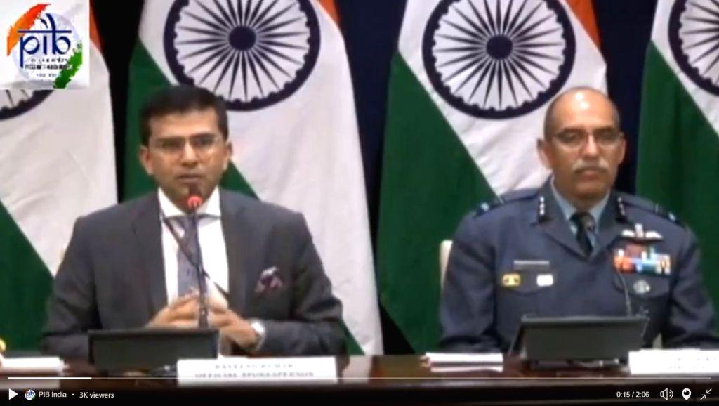 New Delhi: MEA spokesperson Raveesh Kumar and Air Vice Marshal RGK Kapoor address media in New Delhi on Feb 27, 2019. (Photo: IANS/PIB) - Raveesh Kumar