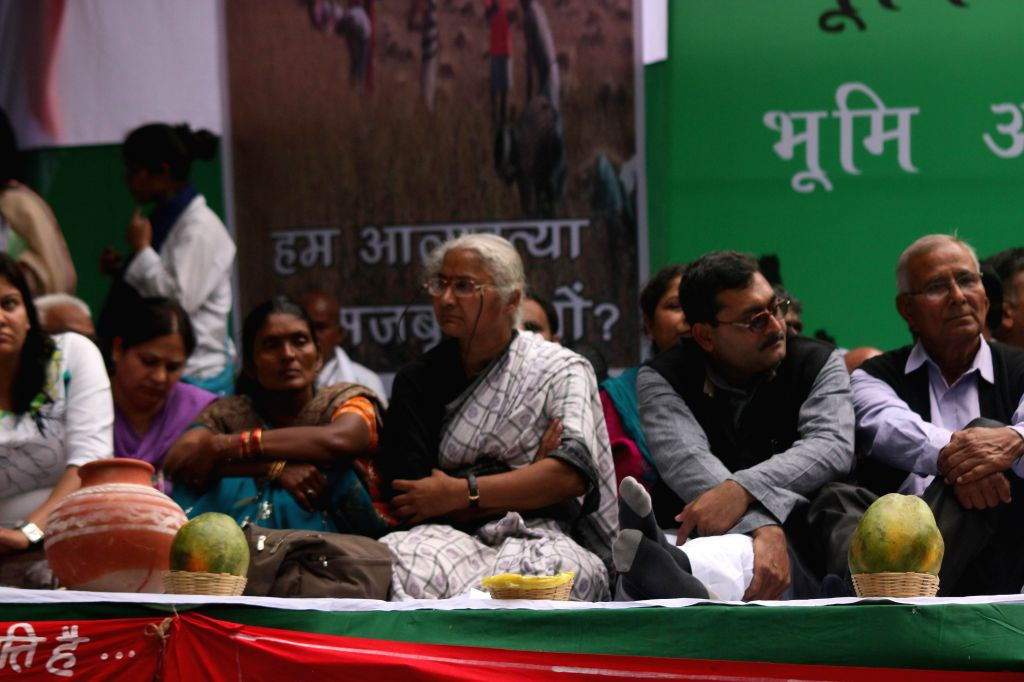 Medha Patkar and other social activists during a demonstration against the land ordinance passed by the NDA government at Jantar Mantar in New Delhi, on Feb 23, 2015.
