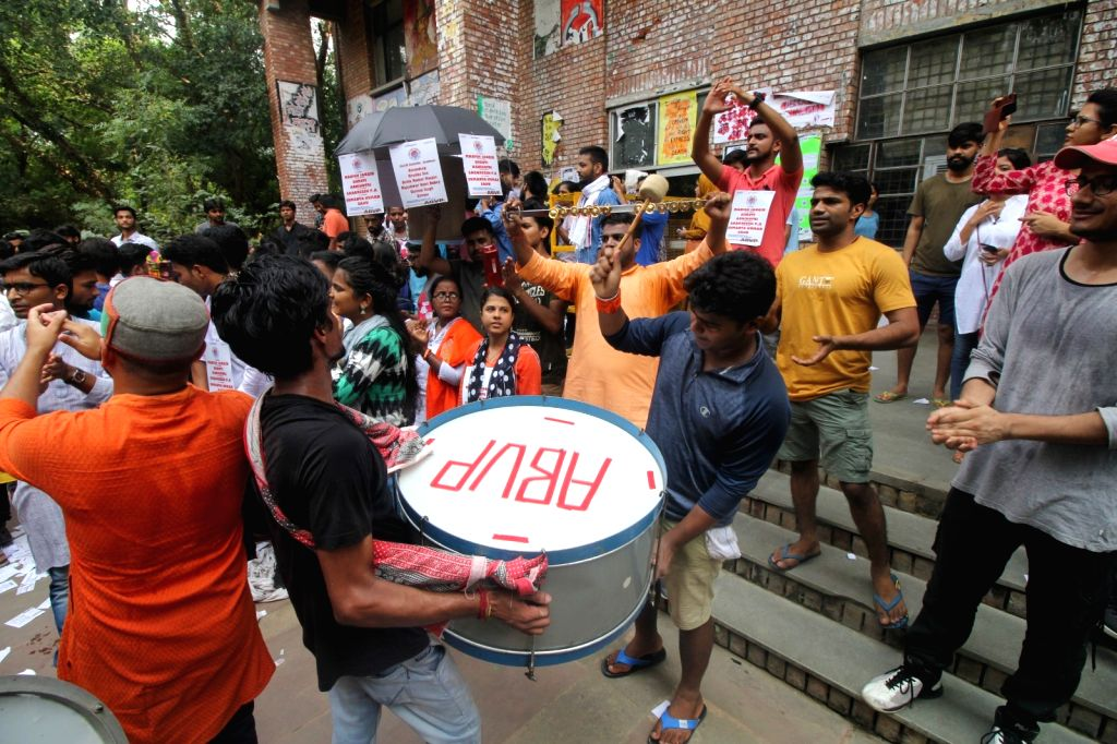 New Delhi: Members of ABVP cheer for their group during voting for this year's JNUSU elections, at the university campus in New Delhi on Sep 6, 2019. (Photo: IANS)