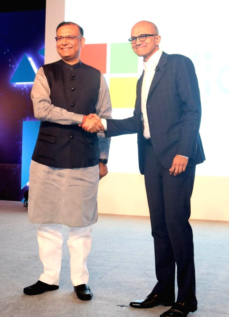 "New Delhi:Microsoft CEO Satya Nadella and Union MoS Finance Jayant Sinha during  ""Tech for Good, Ideas for India"" - programme organised for young achievers, developers and entrepreneurs in ... - Jayant Sinha"