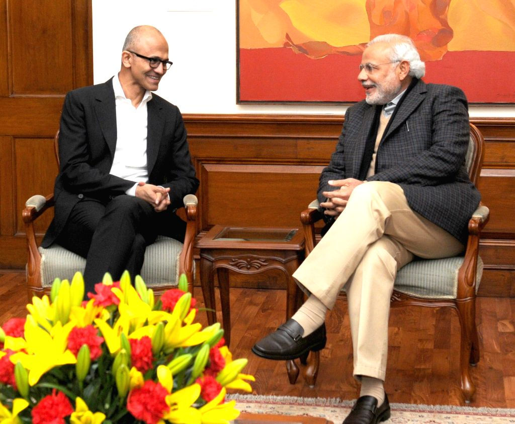 Microsoft CEO Satya Nadella calls on the Prime Minister Narendra Modi in New Delhi, on Dec 26, 2014. - Narendra Modi