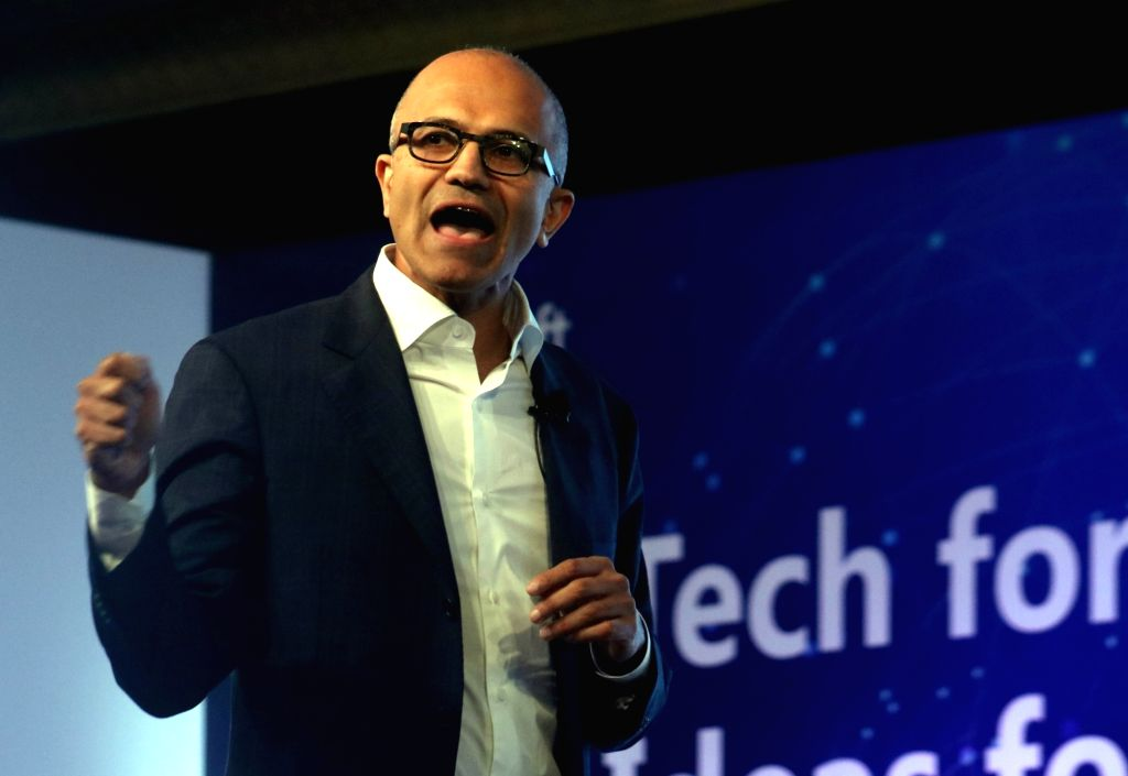 "New Delhi:Microsoft CEO Satya Nadella during  ""Tech for Good, Ideas for India"" - programme organised for young achievers, developers and entrepreneurs in New Delhi, on May 30, 2016."