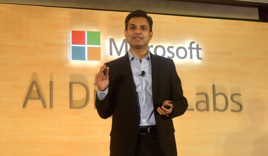 New Delhi: Microsoft India President Anant Maheshwari addresses at the launch of Artificial Intelligence (AI) digital labs, in New Delhi, on June 13, 2019. (Photo: IANS)