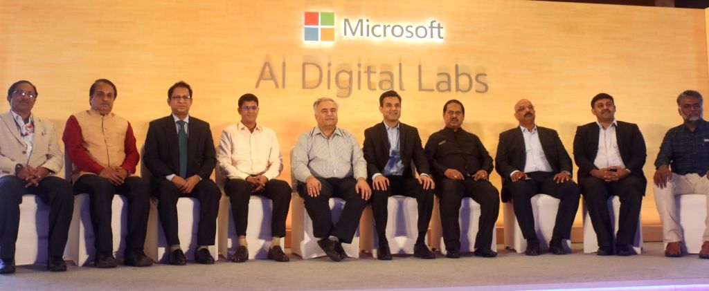 New Delhi: Microsoft India President Anant Maheshwari along with other dignitaries at the launch of Artificial Intelligence (AI) digital labs, in New Delhi, on June 13, 2019. (Photo: IANS)