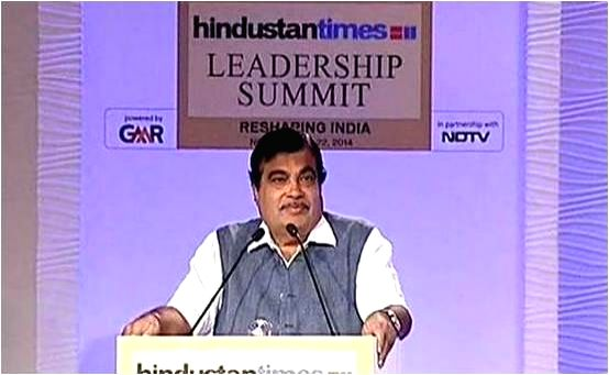 Minister of Road Transport and Highways, Shipping and Rural Development Nitin Gadkari at the Hindustan Times Leadership Summit in New Delhi on Nov. 21, 2014.