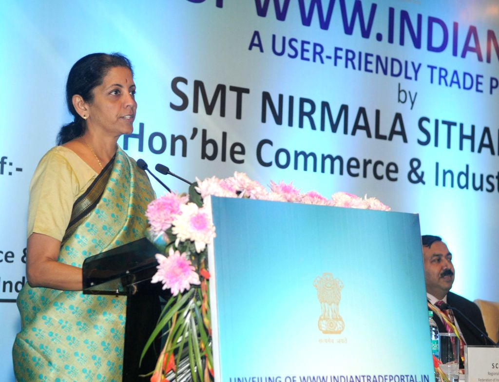 Minister of State for Commerce and Industry (Independent Charge), Nirmala Sitharaman addresses after unveiling the Indian Trade Portal (www.indiantradeportal.in), in New Delhi on Dec 8, ...