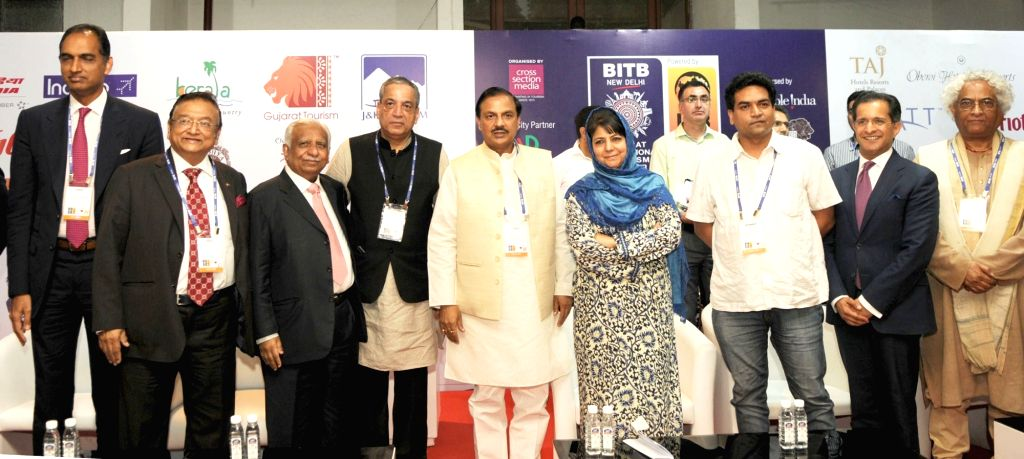 New Delhi: Minister of State for Culture and Tourism (Independent Charge), Dr. Mahesh Sharma, Jammu and Kashmir Chief Minister Mehbooba Mufti and Delhi Tourism Minister Kapil Mishra at the ... - Mehbooba Mufti, Mahesh Sharma and Kapil Mishra