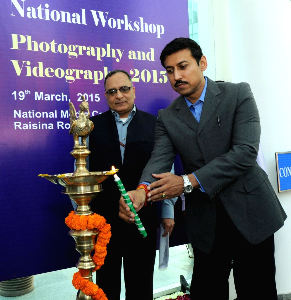 Minister of State for Information and Broadcasting, Col. Rajyavardhan Singh Rathore lights the lamp to inaugurate the 1st One Day National Workshop on Still Photography and Videography, in ... - Rajyavardhan Singh Rathore