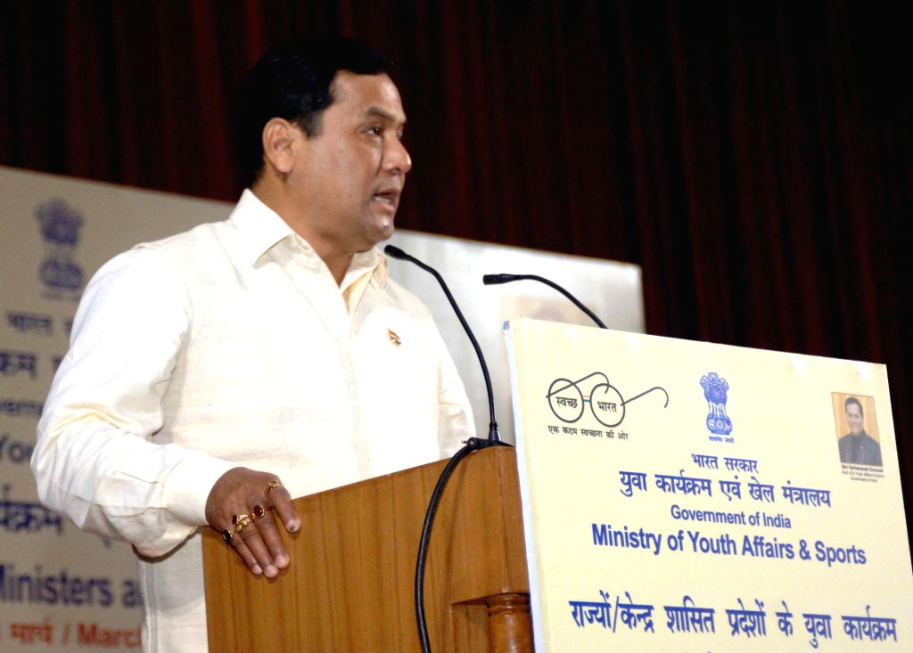 Minister of State for Youth Affairs and Sports (Independent Charge), Sarbananda Sonowal addresses at the inauguration of the Conference of Ministers of States/UTs in-charge of Youth ...