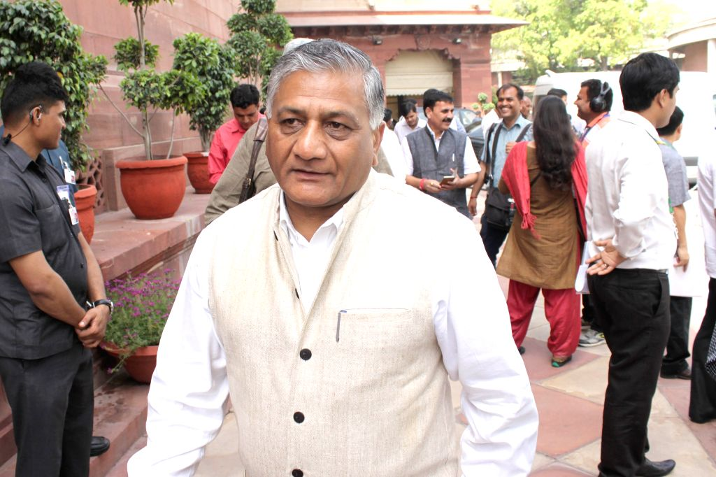 Minister of State Gen.VK Singh at Parliament house on April 21, 2015.