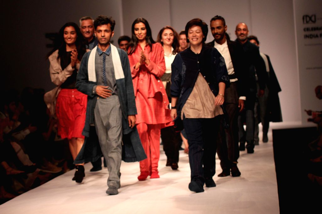 Models showcases 11.11`s creations during Amazon India Fashion Week in New Delhi, on March 27, 2015.