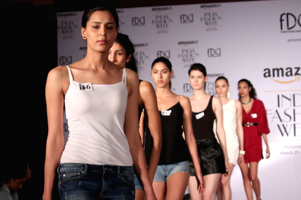 Models walk the ramp during the auditions for upcoming India Fashion Week Autumn Winter 2015, in New Delhi on Feb 18, 2015.