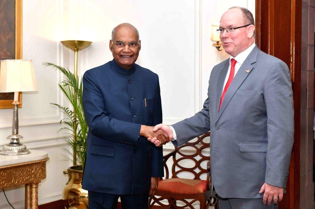 New Delhi: Monaco Head of State Prince Albert II meets President Ram Nath Kovind in New Delhi, on Feb 5, 2019. (Photo: IANS/RB) - Nath Kovind