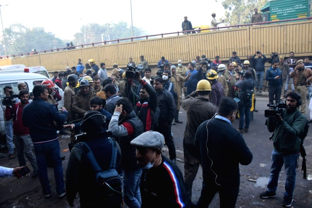 New Delhi: More than 30 people were killed and over a dozen others injured n a major blaze in Delhi's Rani Jhansi Road market on Dec. 8 2019. (Photo: IANS)