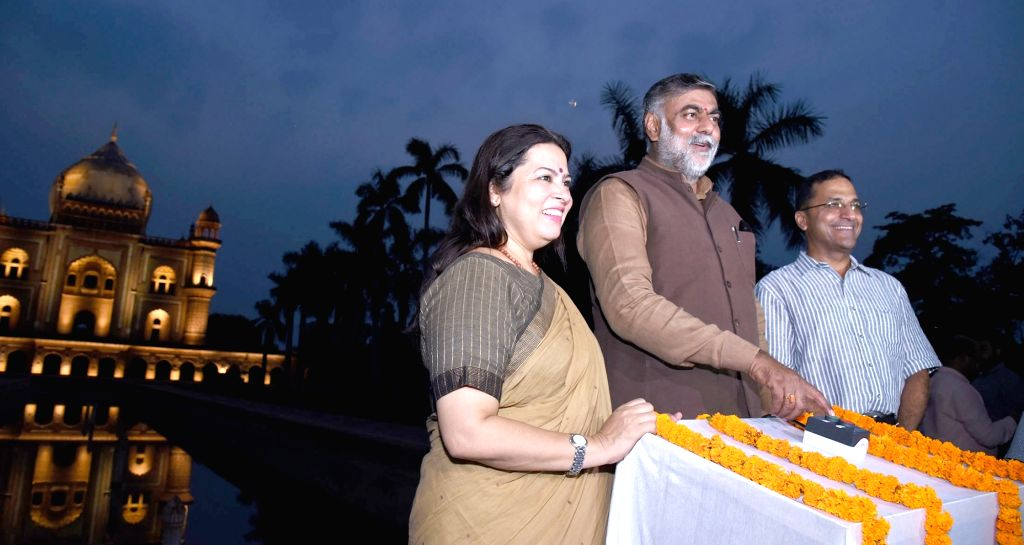 New Delhi: MoS Culture and Tourism (Independent Charge) Prahalad Singh Patel during the inauguration of the Architectural Illumination of the Historic Safdarjung Tomb, in New Delhi on July ... - Prahalad Singh Patel