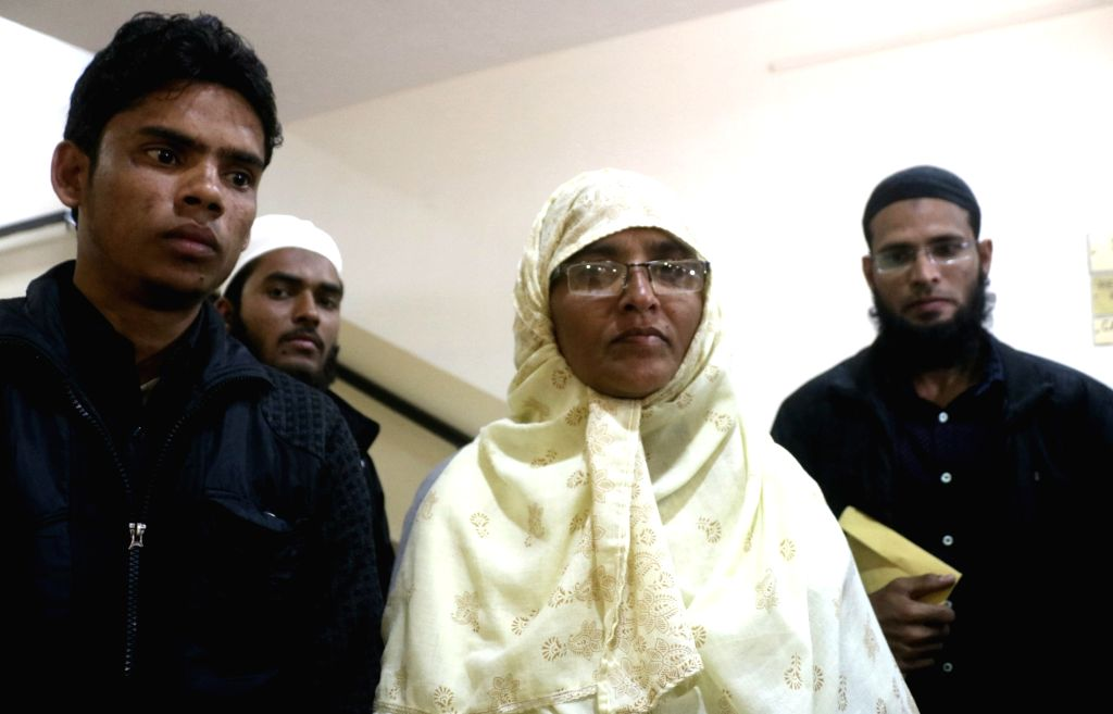 : New Delhi: Mother of teenager Junaid Khan, who was stabbed to death in a train in Haryana's Faridabad district, during Sahitya Akademi Awards in New Delhi on Feb 12, 2018. (Photo: IANS).
