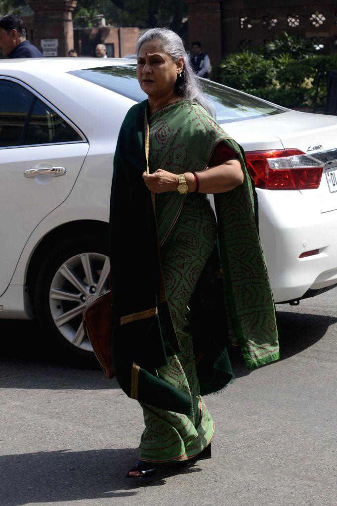 MP and actress Jaya Bachchan at the Parliament in New Delhi, on March 11, 2015. - Jaya Bachchan
