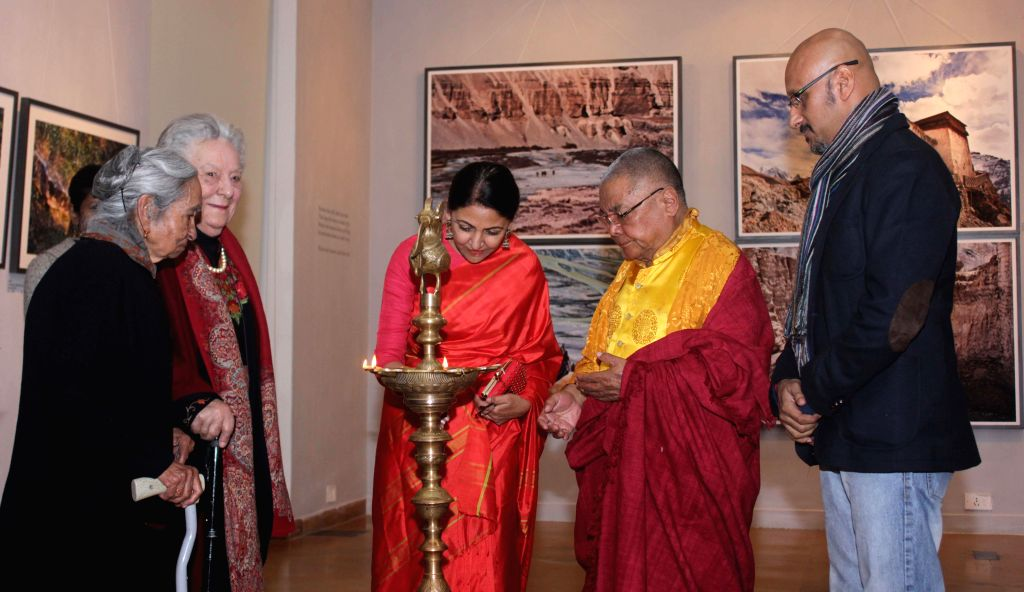 Music director Shantanu Moitra and actress Deepti Naval at the inauguration of Kishore Thukral's photography exhibition in New Delhi, on Jan 14, 2015.