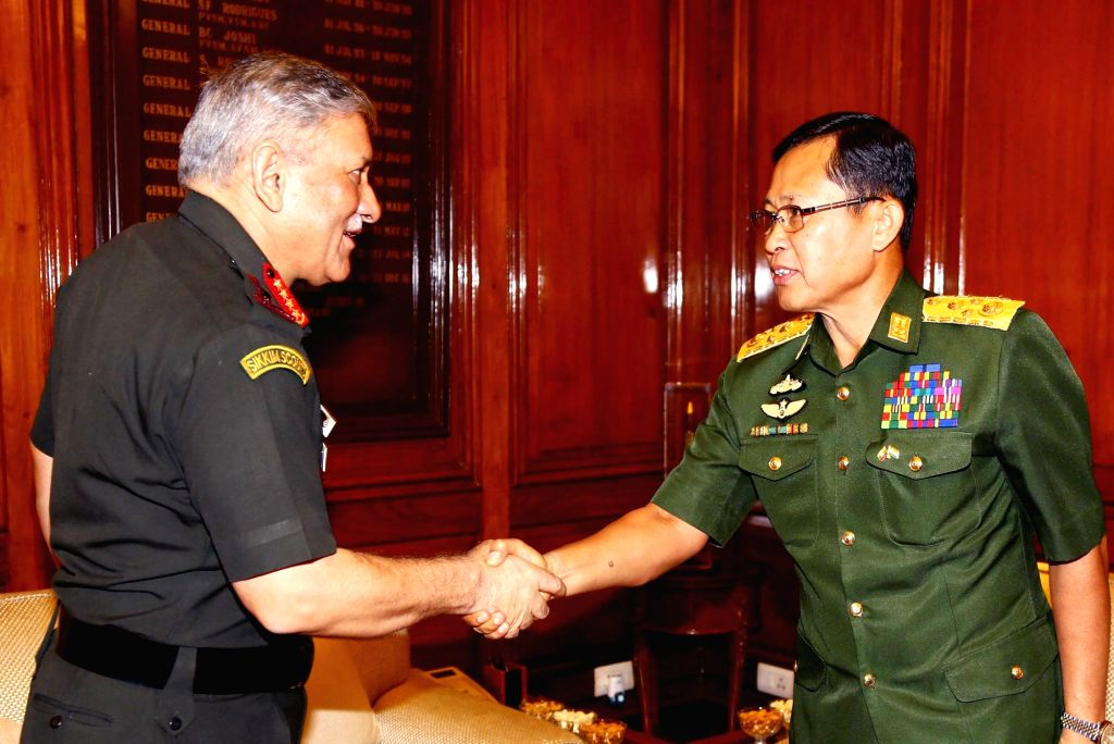 New Delhi: Myanmar Deputy Commander-in-Chief, Defence Services and Commander-in-Chief (Army), Vice Senior General Soe Win meets Army Chief General Bipin Rawat, in New Delhi on Sept 18, ...