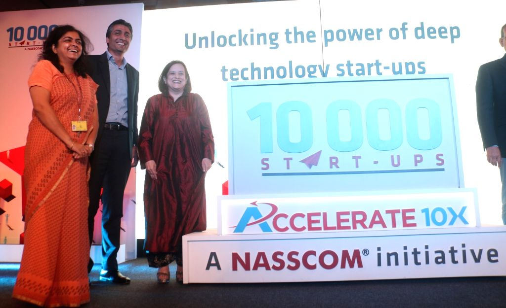 New Delhi: Nasscom Chairman Rishad Premji and President Debjani Ghosh at the launch of 'Accelerate 10X' - an initiative of Nasscom under its 10,000 Startups Virtual Program, in New Delhi on Sept 18, 2018. (Photo: IANS) - Debjani Ghosh