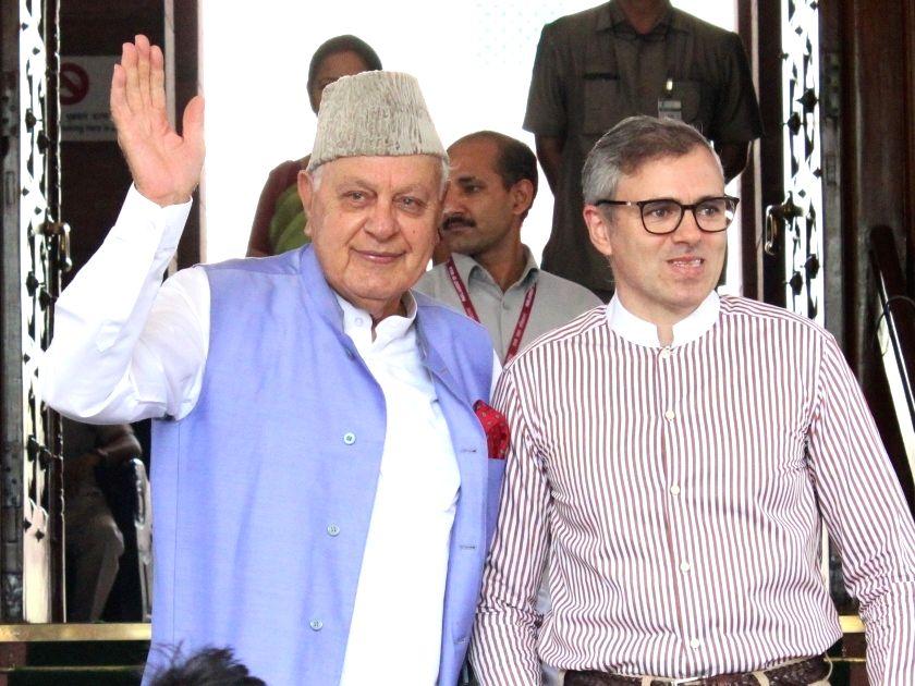 New Delhi: National Conference (NC) leaders Farooq Abdullah and Omar Abdullah at Parliament, in New Delhi on June 25, 2019. (Photo: Amlan Paliwal/IANS)