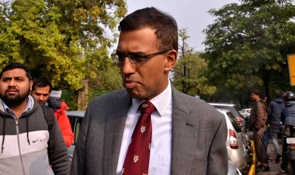 New Delhi: National Security Advisor (NSA) Ajit Doval's son Vivek Doval outside Patiala House Court in New Delhi on Jan 22, 2019. The court took cognizance of a defamation complaint filed by Doval against Congress leader Jairam Ramesh, The Caravan ma