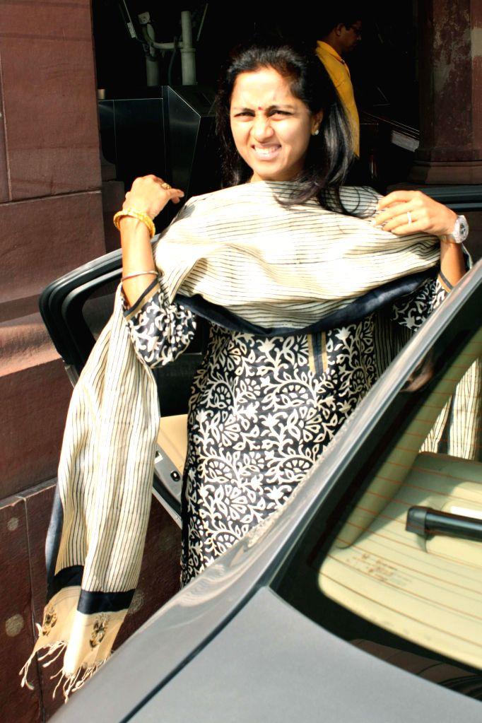 NCP MP Supriya Sule at the Parliament premises in New Delhi, on Nov 28, 2014.