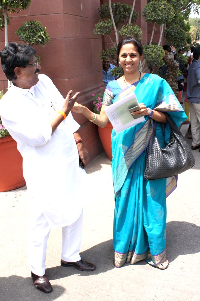 NCP MP Supriya Sule at the Parliament house in New Delhi, on April 23, 2015.