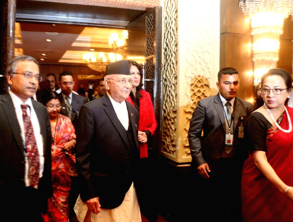 : New Delhi: Nepal's Prime Minister KP Sharma Oli at India-Nepal Business Forum in New Delhi on April 6, 2018. (Photo: IANS).