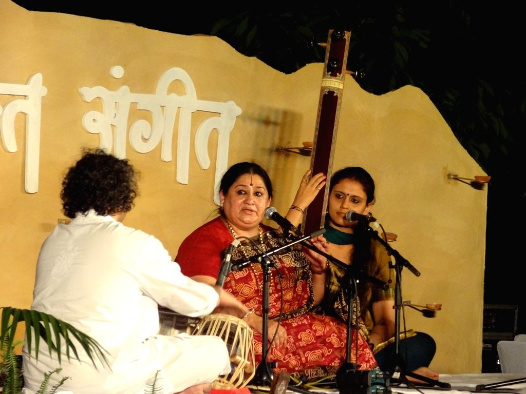 New Delhi: Classical singer Shubha Mudgal performs during the `Bhakti Sangeet Festival 2015` in New Delhi on April 25, 2015.