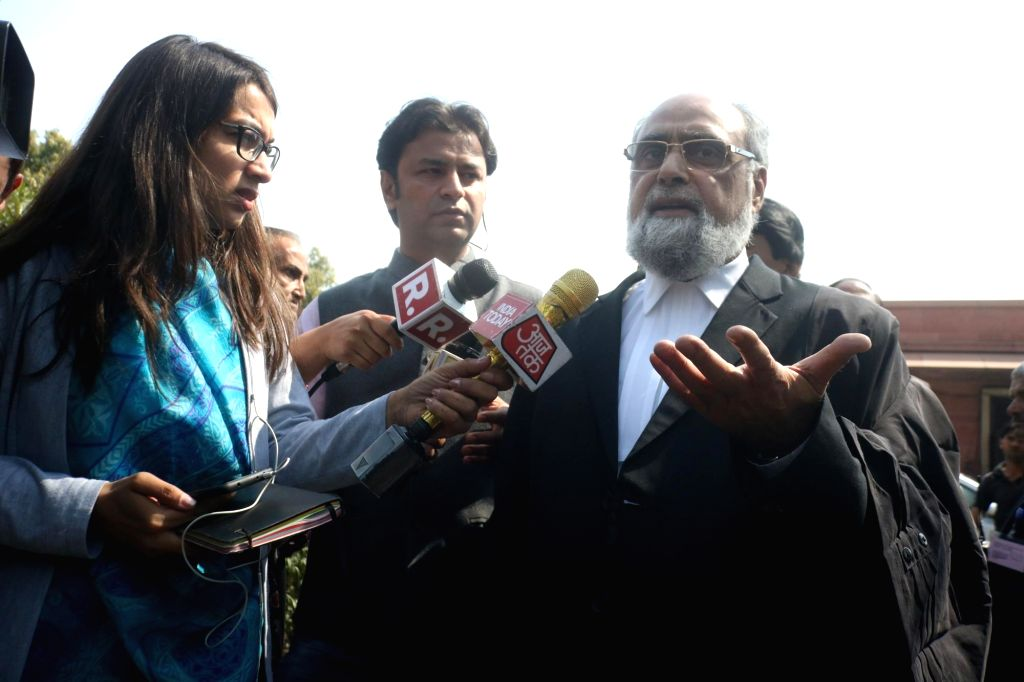 New Delhi: New Delhi: Sunni Waqf Board representative, senior advocate Shakeel Ahmed Syed talks to media person at Supreme Court in New Delhi on March 8, 2019. The Supreme Court on Friday ordered mediation to settle the Ram Janmabhoomi-Babri Masjid A