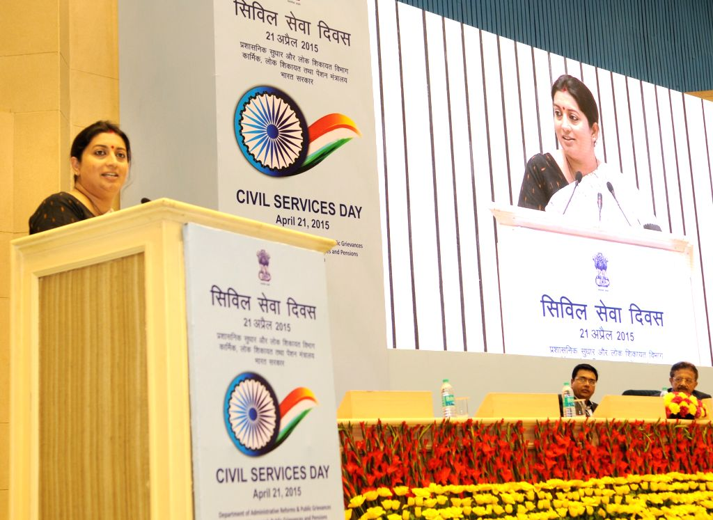 New Delhi: Union Minister for Human Resource Development Smriti Irani presides over the first Panel Discussion of the day on the theme of ``Social Sector``, during the two-day-long Civil ...