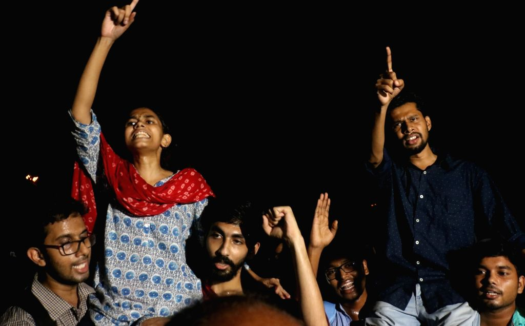 New Delhi: Newly elected JNU student union office bearers President Aishe Ghosh and Vice President Saket Moon celebrate after the announcement of the results of JNUSU at Jawaharlal Nehru University in New Delhi on Sep 17, 2019. (Photo: IANS) - Aishe Ghosh
