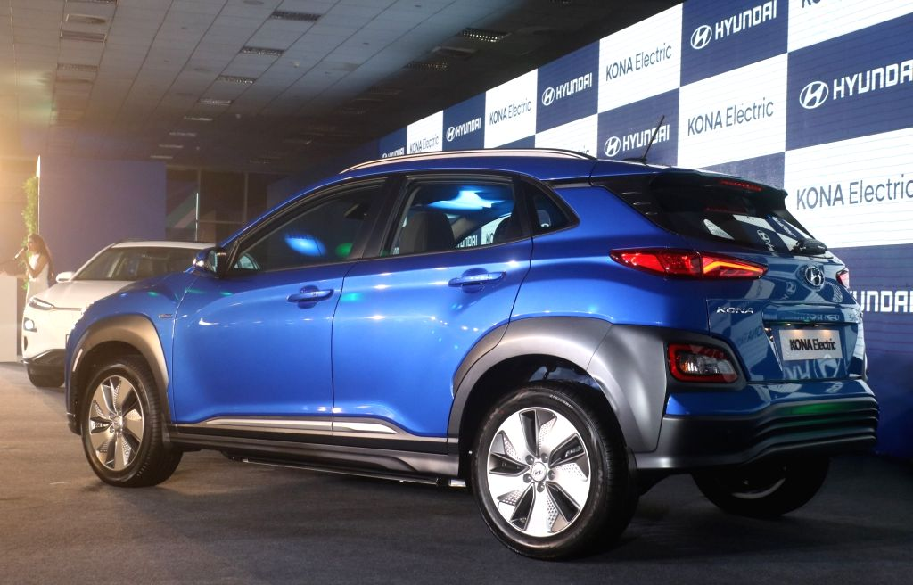 New Delhi: Newly launched Hyundai Kona Electric SUV in New Delhi, on July 9, 2019. (Photo: IANS)