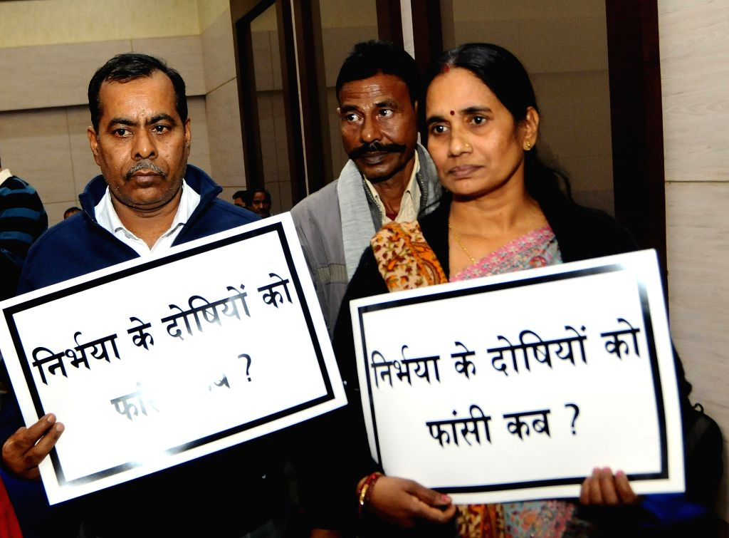 New Delhi: Nirbhaya's parents Asha Devi and Badri Singh during a prayer meeting organised by Nirbhaya Jyoti Trust on the sixth anniversary of the Nirbhaya gang rape case, in New Delhi on Dec 16, 2018. A 23-year-old paramedic student was brutally gang - Badri Singh