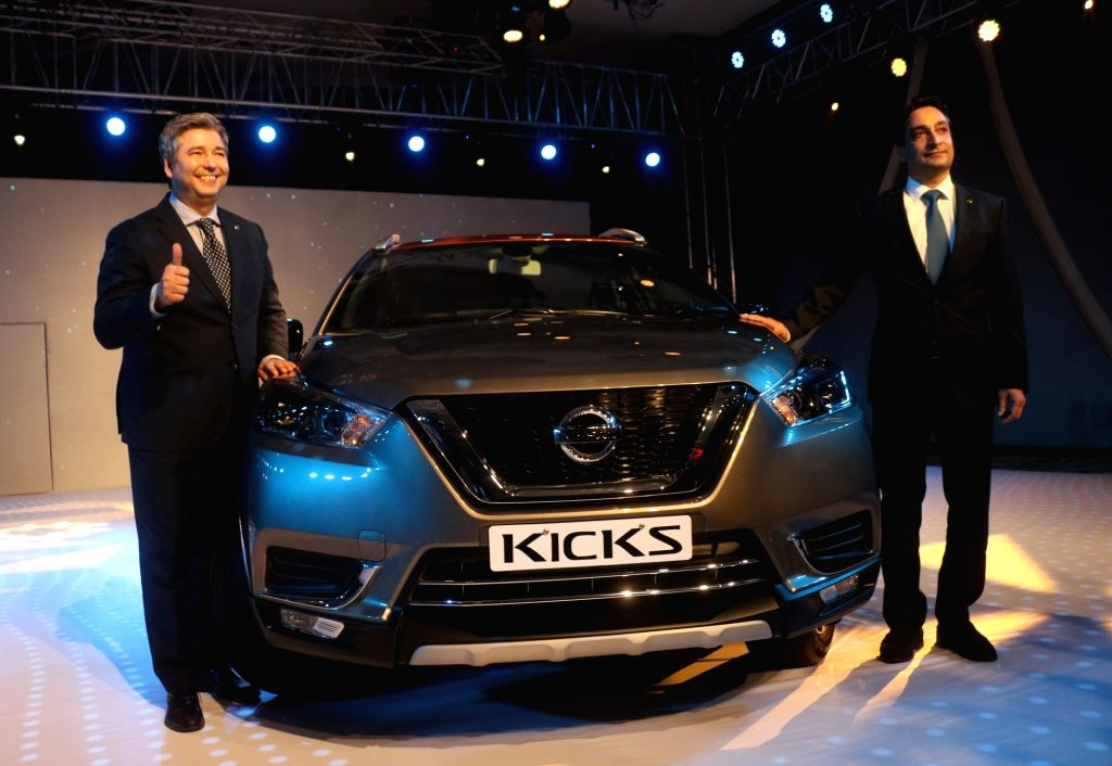 New Delhi:Nissan India President Thomas Kuehl and Nissan Chairman (Africa, West Asia and India) and Senior Vice-President Peyman Kargar at the launch of Nissan Kicks SUV in New Delhi, on Jan 22, 2019. (Photo: IANS)