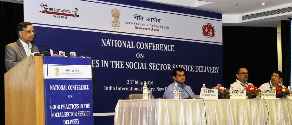 New Delhi:NITI Aayog Vice Chairman  Dr. Arvind Panagariya addresses at the National Conference on Good Practices in the Social Sector Service Delivery, in New Delhi on May 23, 2016. Also seen NITI ...