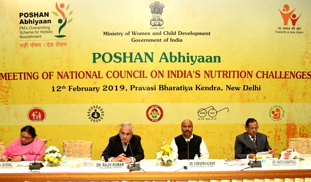 New Delhi: NITI Aayog Vice-Chairman Rajiv Kumar chairs the 4th meeting of the National Council on India's Nutrition Challenges under POSHAN Abhiyaan, in New Delhi on Feb 12, 2019. (Photo: IANS/PIB) - Rajiv Kumar
