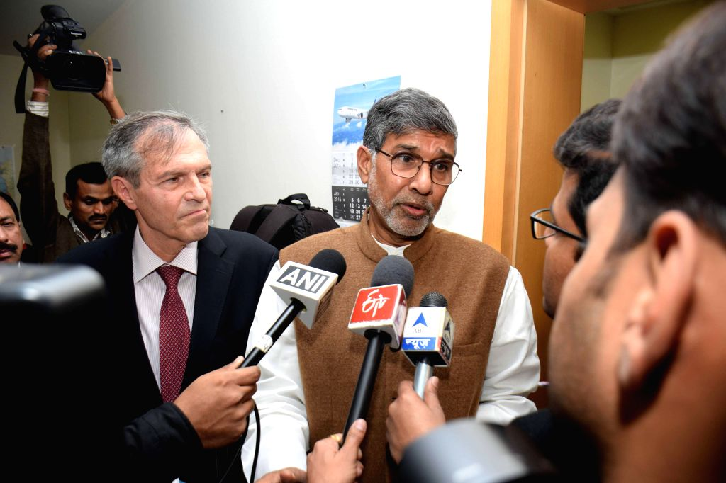 Nobel laureate Kailash Satyarthi talks to press during a programme organised at the German Embassy in New Delhi, on Dec 18, 2014.